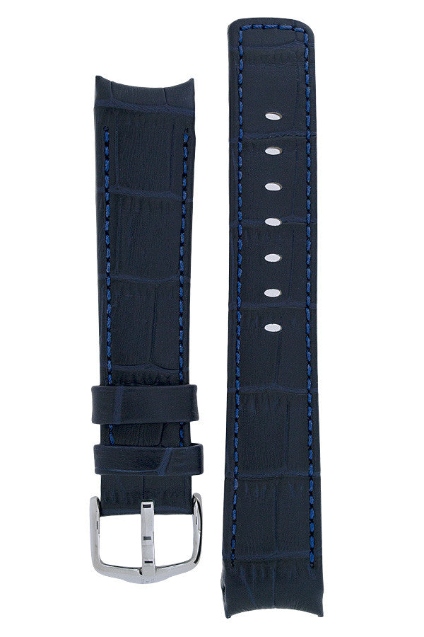Hirsch Principal curved ended leather watch strap in blue
