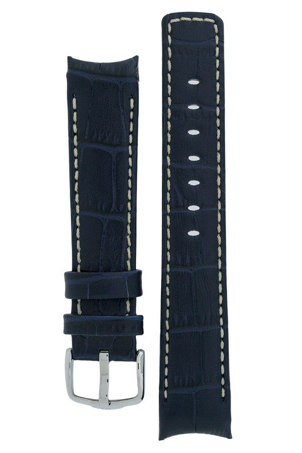Hirsch Principal curved ended leather watch strap in blue with ivory stitching