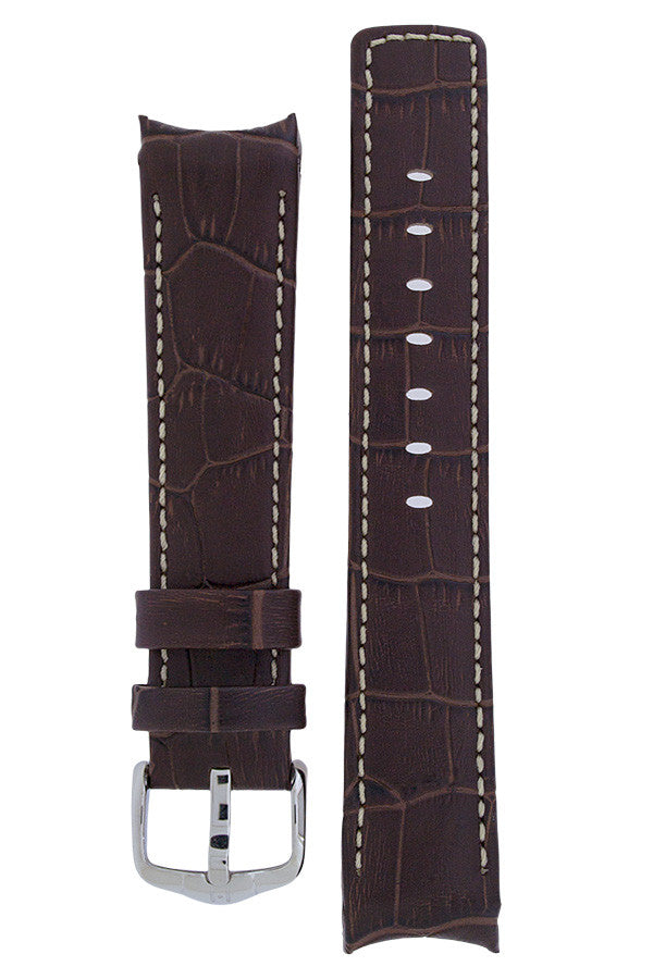 Hirsch Principal curved ended leather watch strap in brown with ivory stitching