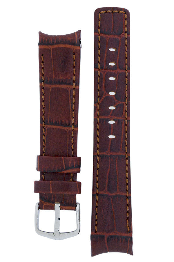Hirsch Principal curved ended leather watch strap in gold brown