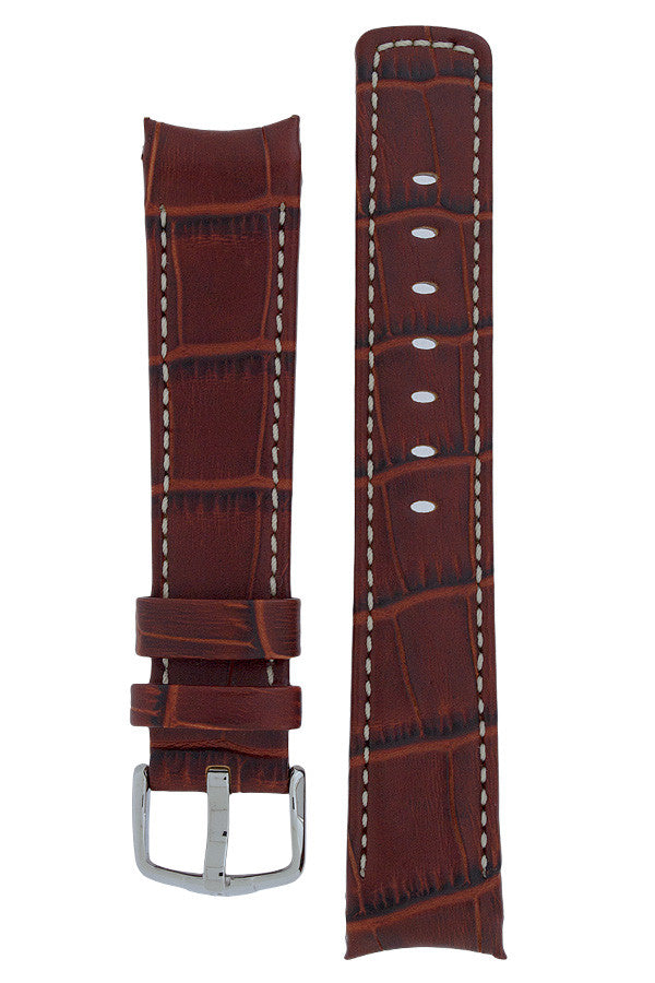 Hirsch Principal curved ended leather watch strap in gold brown with ivory stitching