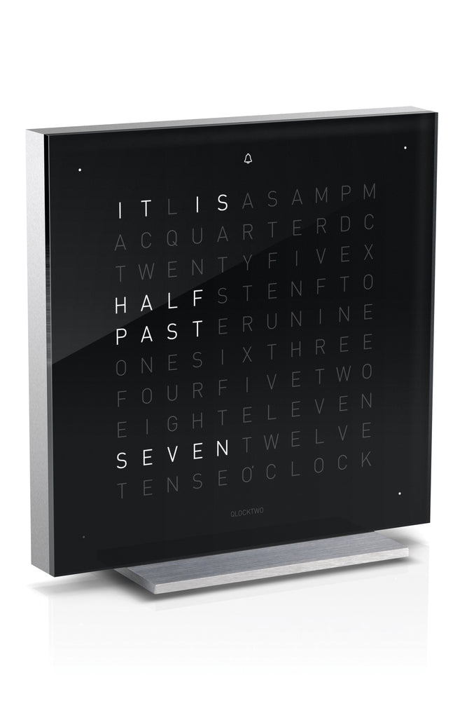 QLOCKTWO TOUCH Aluminium Desk Clock with BLACK ICE TEA Acrylic Faceplate