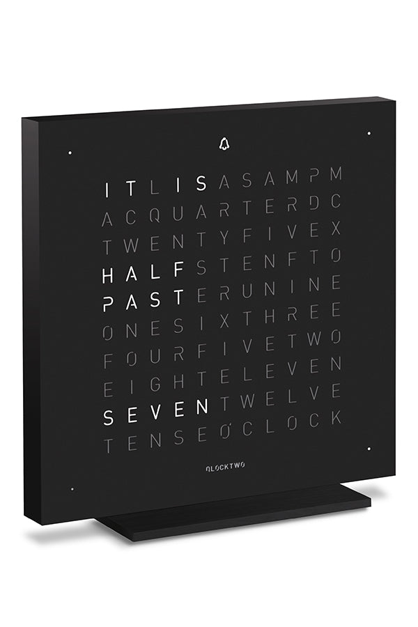 QLOCKTWO TOUCH Aluminium Desk Clock with DEEP BLACK Steel Faceplate