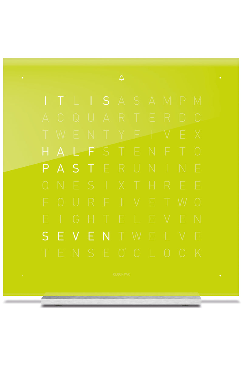 QLOCKTWO TOUCH Aluminium Desk Clock with LIME JUICE Acrylic Faceplate
