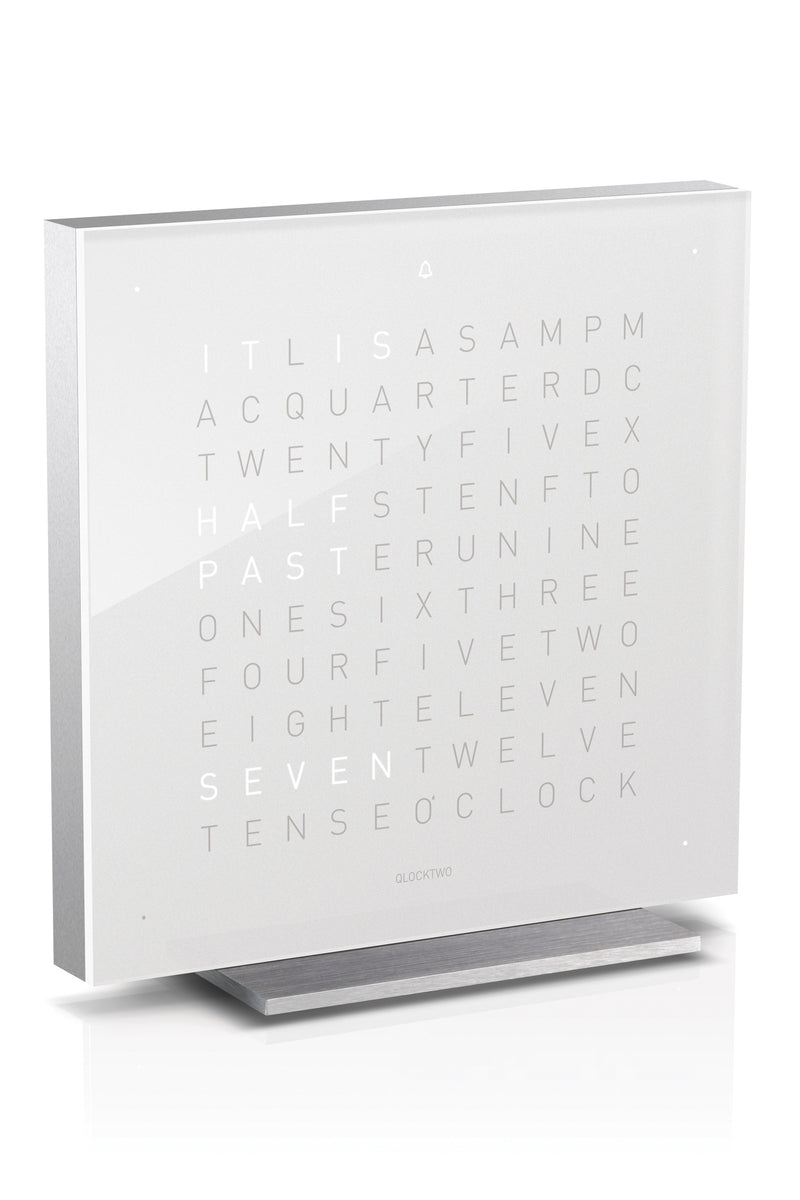 QLOCKTWO TOUCH Aluminium Desk Clock with VANILLA SUGAR Acrylic Faceplate