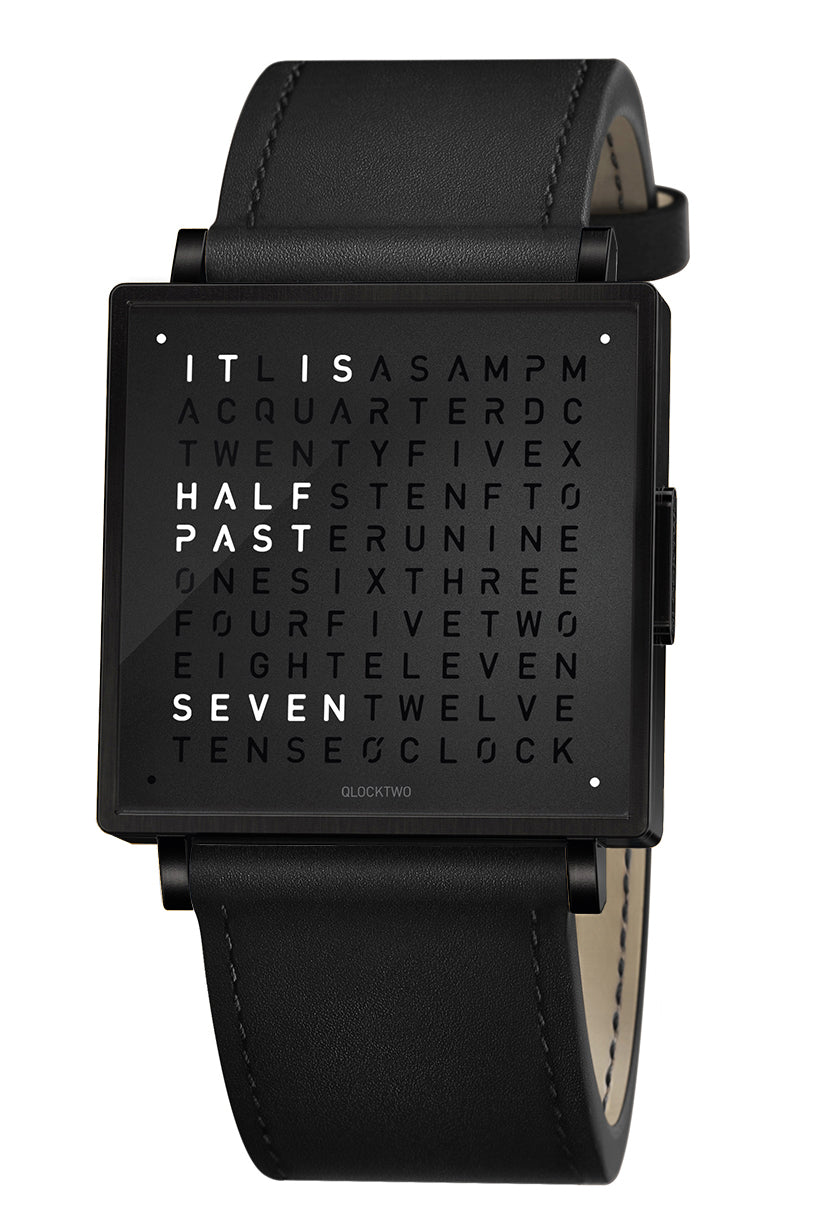 QLOCKTWO W Black Steel Watch with Black Leather Strap