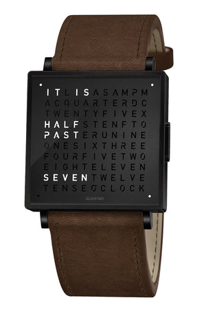 QLOCKTWO W Black Steel Watch with Vintage Brown Leather Strap