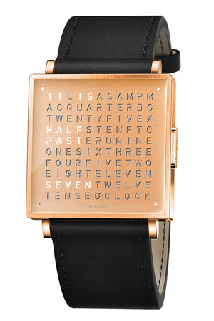 QLOCKTWO W Copper Watch with Black Leather Strap