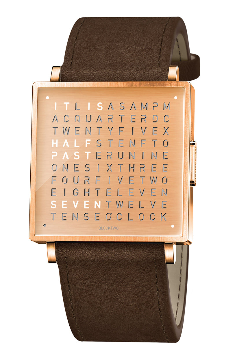 QLOCKTWO W Copper Watch with Vintage Brown Leather Strap