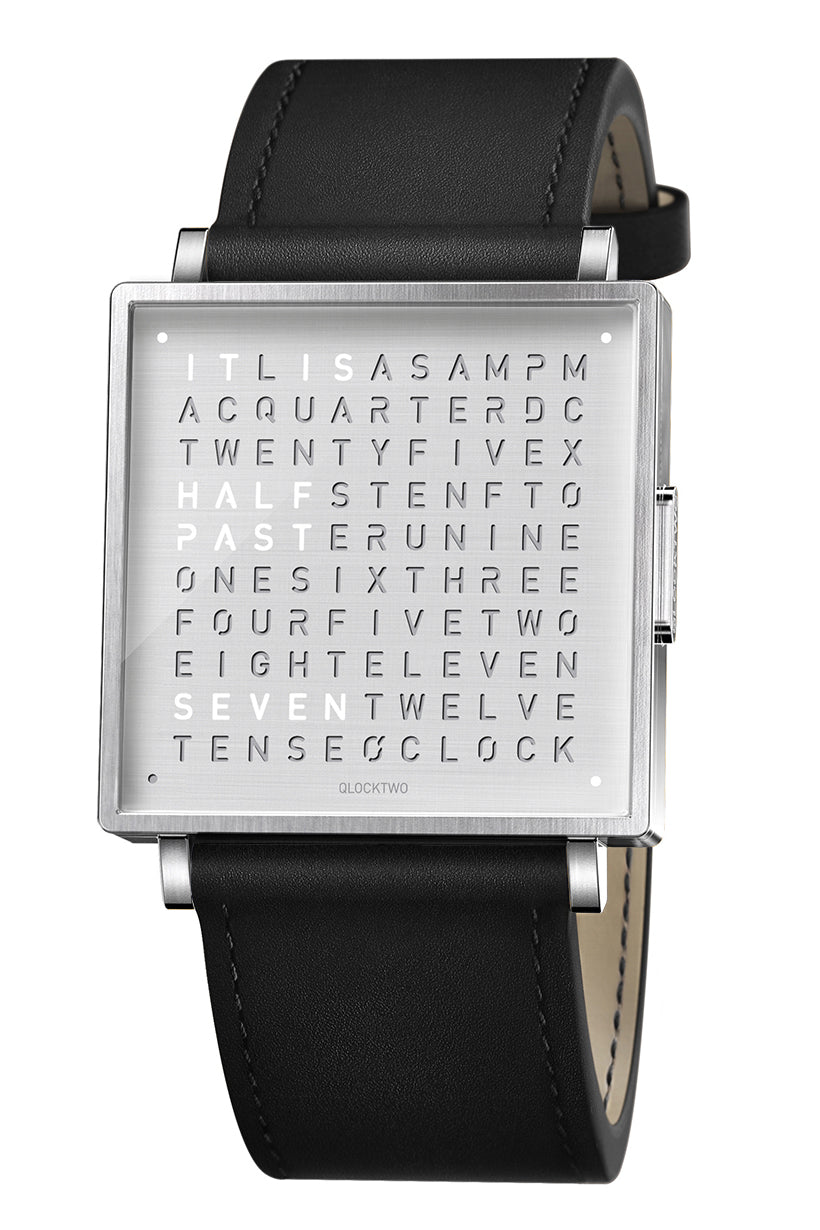 QLOCKTWO W Fine Steel Watch with Black Leather Strap