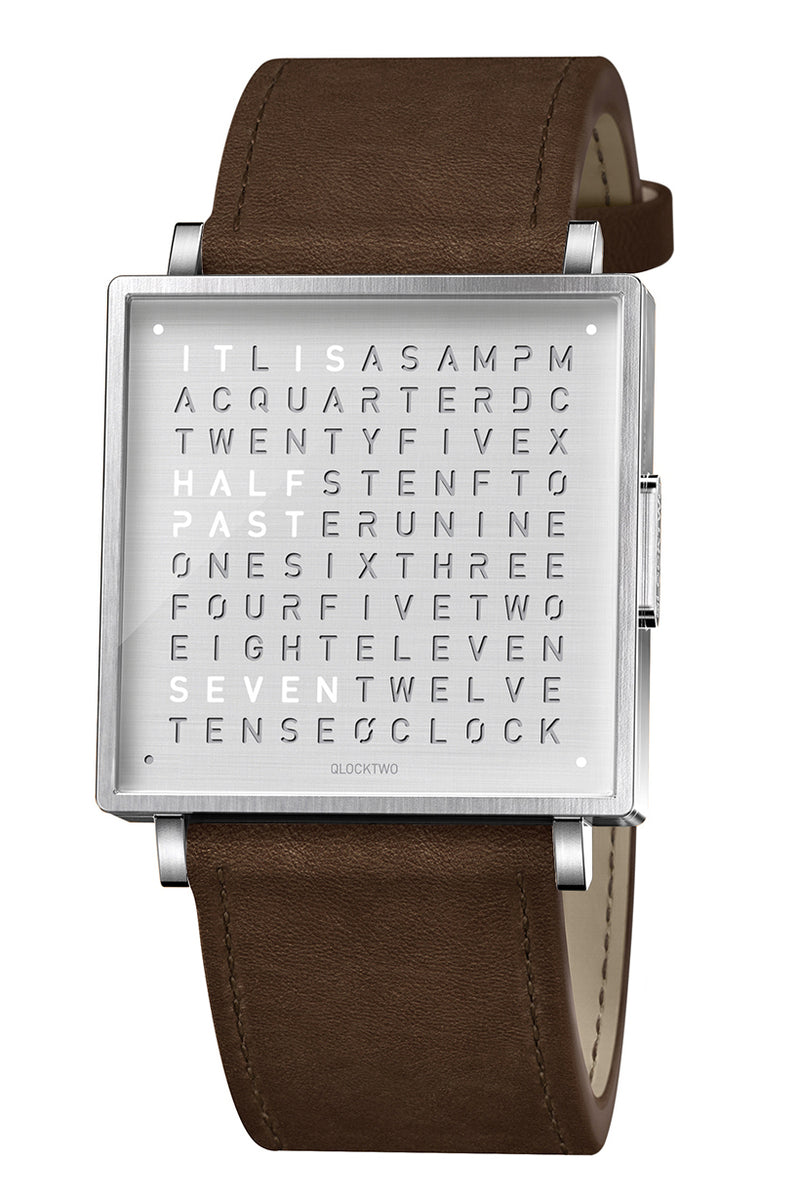 QLOCKTWO W Fine Steel Watch with Vintage Brown Leather Strap