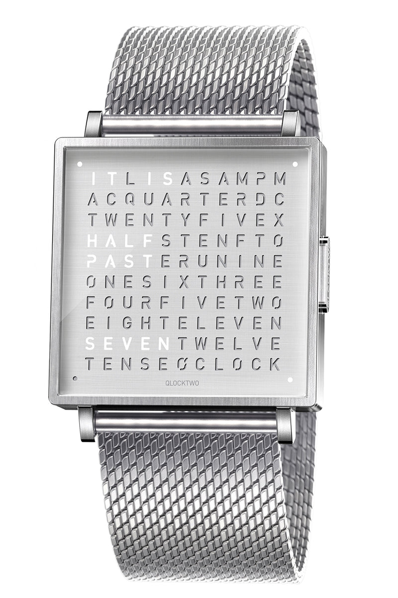 QLOCKTWO W Fine Steel Watch with Milanaise Steel Bracelet