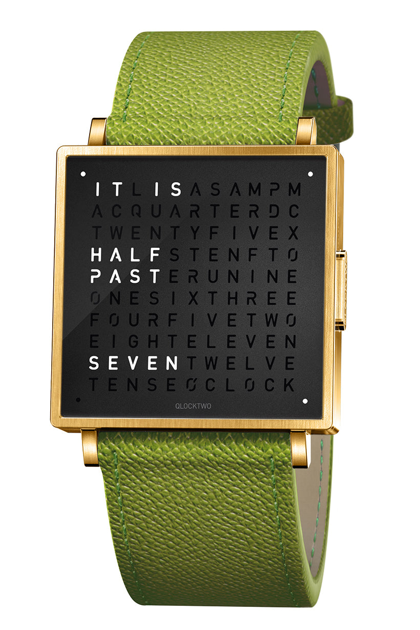 QLOCKTWO W Gold Black Watch with Green French-Grain Leather Strap