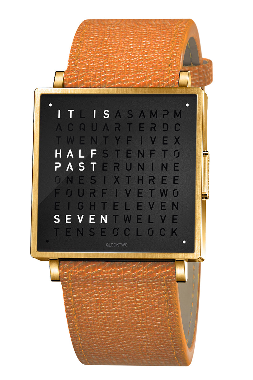 QLOCKTWO W Gold Black Watch with Orange French-Grain Leather Strap