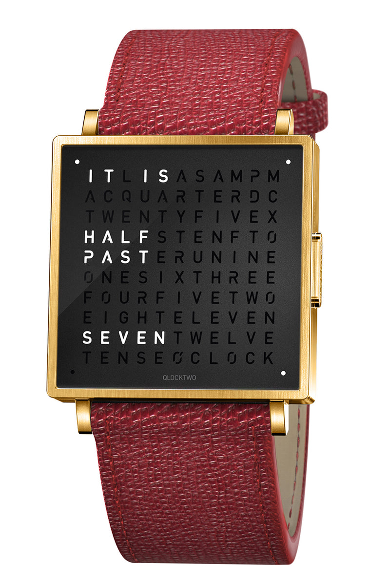 QLOCKTWO W Gold Black Watch with Red French-Grain Leather Strap