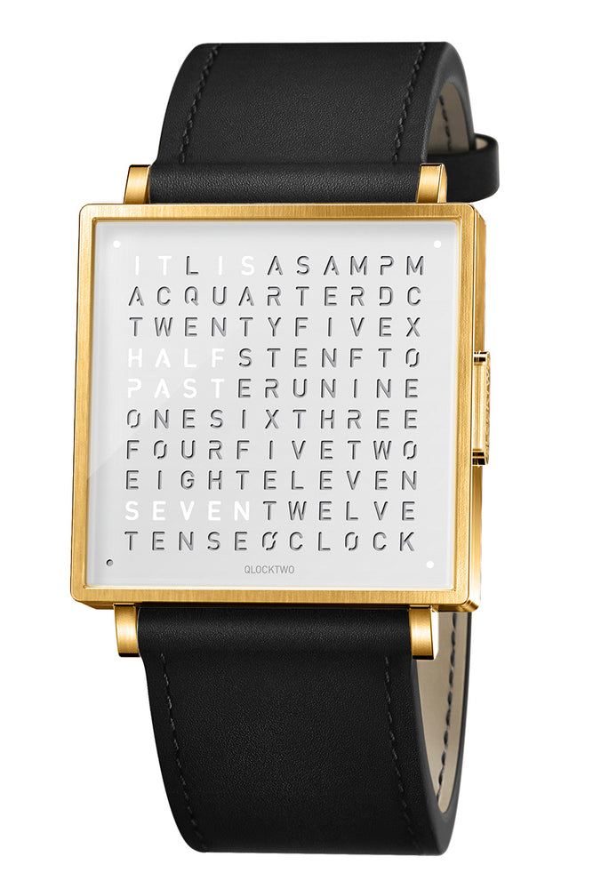 QLOCKTWO W Gold White Watch with Black Leather Strap