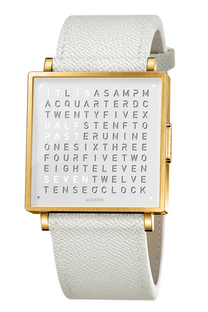 QLOCKTWO W Gold White Watch with White French-Grain Leather Strap