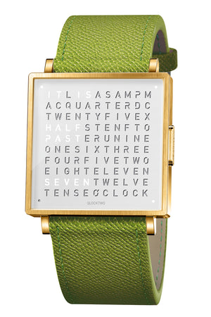QLOCKTWO W Gold White Watch with Green French-Grain Leather Strap