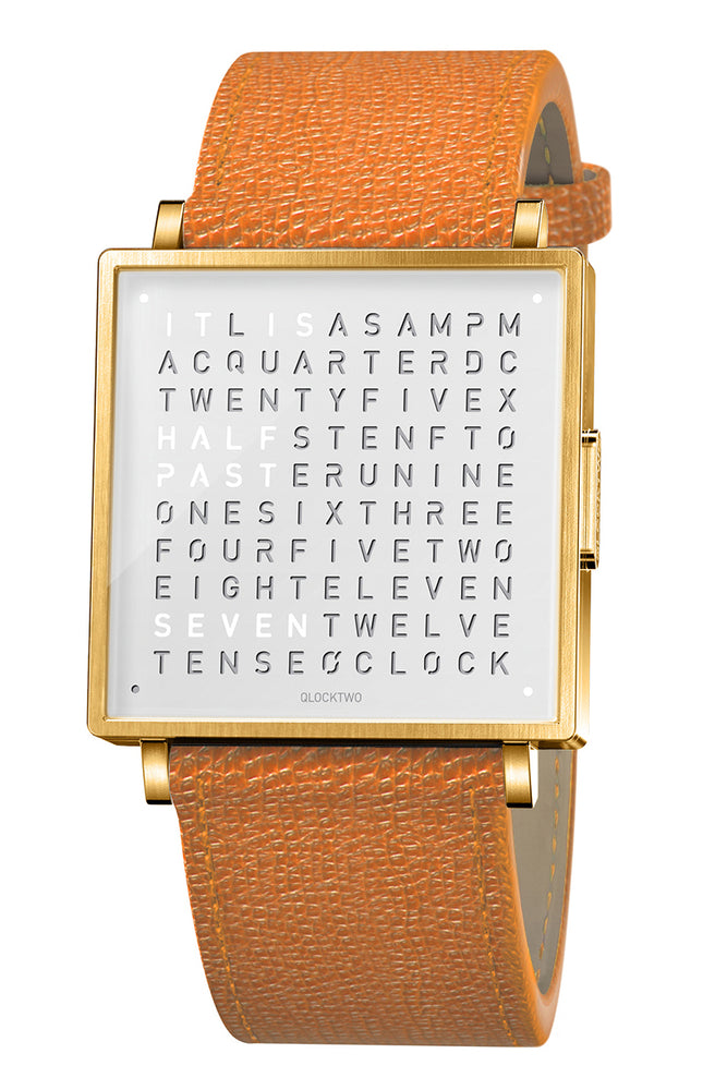 QLOCKTWO W Gold White Watch with Orange French-Grain Leather Strap