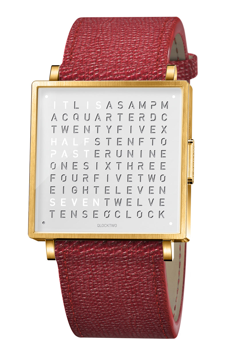 QLOCKTWO W Gold White Watch with Red French-Grain Leather Strap