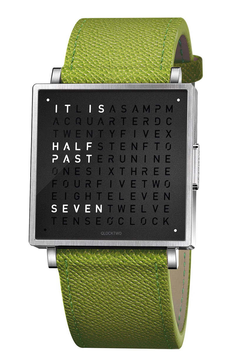 QLOCKTWO W Pure Black Watch with Green French-Grain Leather Strap