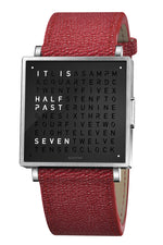 QLOCKTWO W Pure Black Watch with Red French-Grain Leather Strap