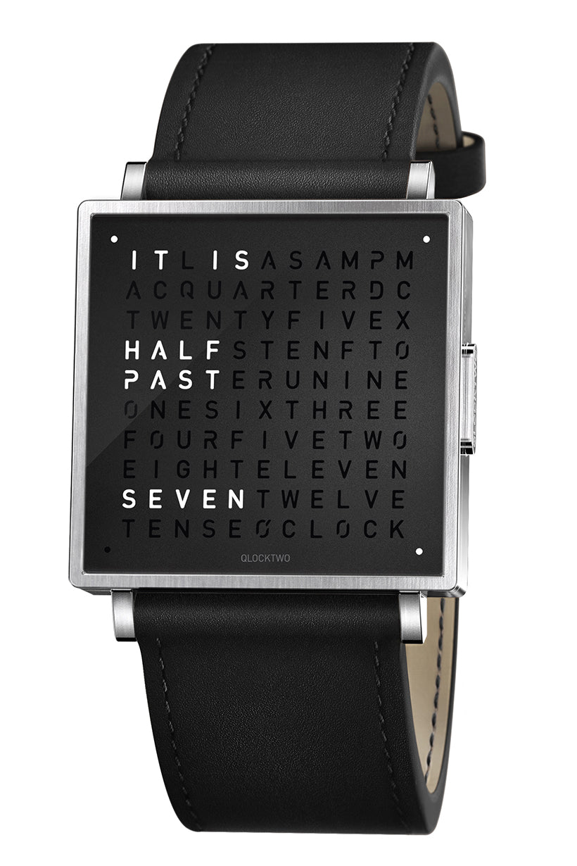 QLOCKTWO W Pure Black Watch with Black Leather Strap
