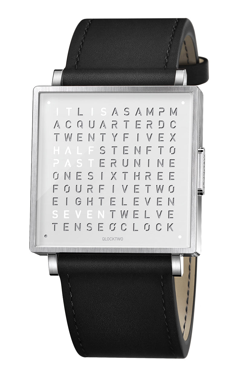 QLOCKTWO W Pure White Watch with Black Leather Strap