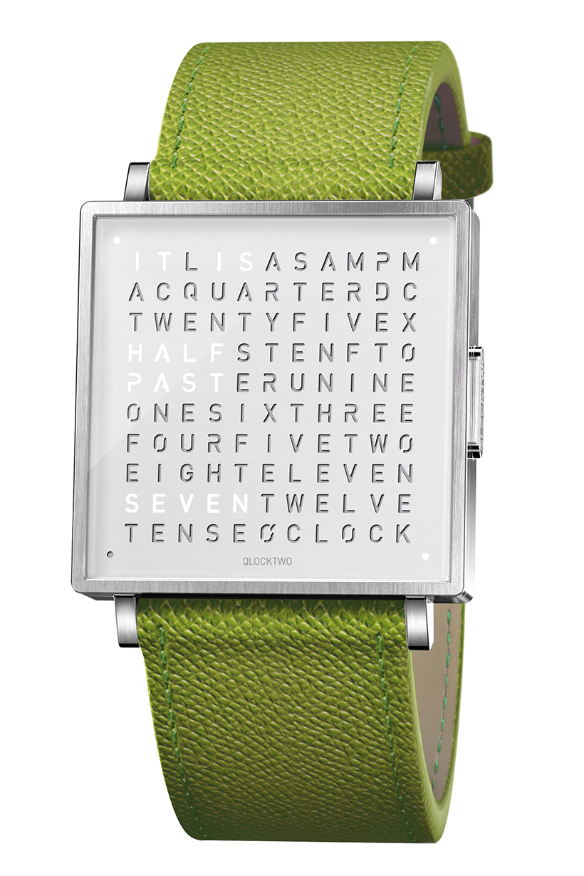 QLOCKTWO W Pure White Watch with Green French-Grain Leather Strap
