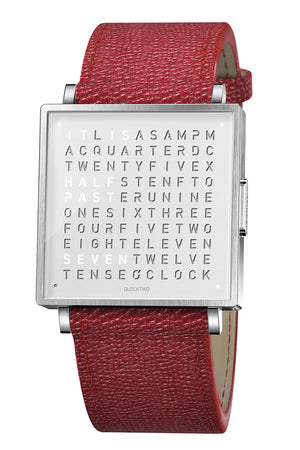 QLOCKTWO W Pure White Watch with Red French-Grain Leather Strap