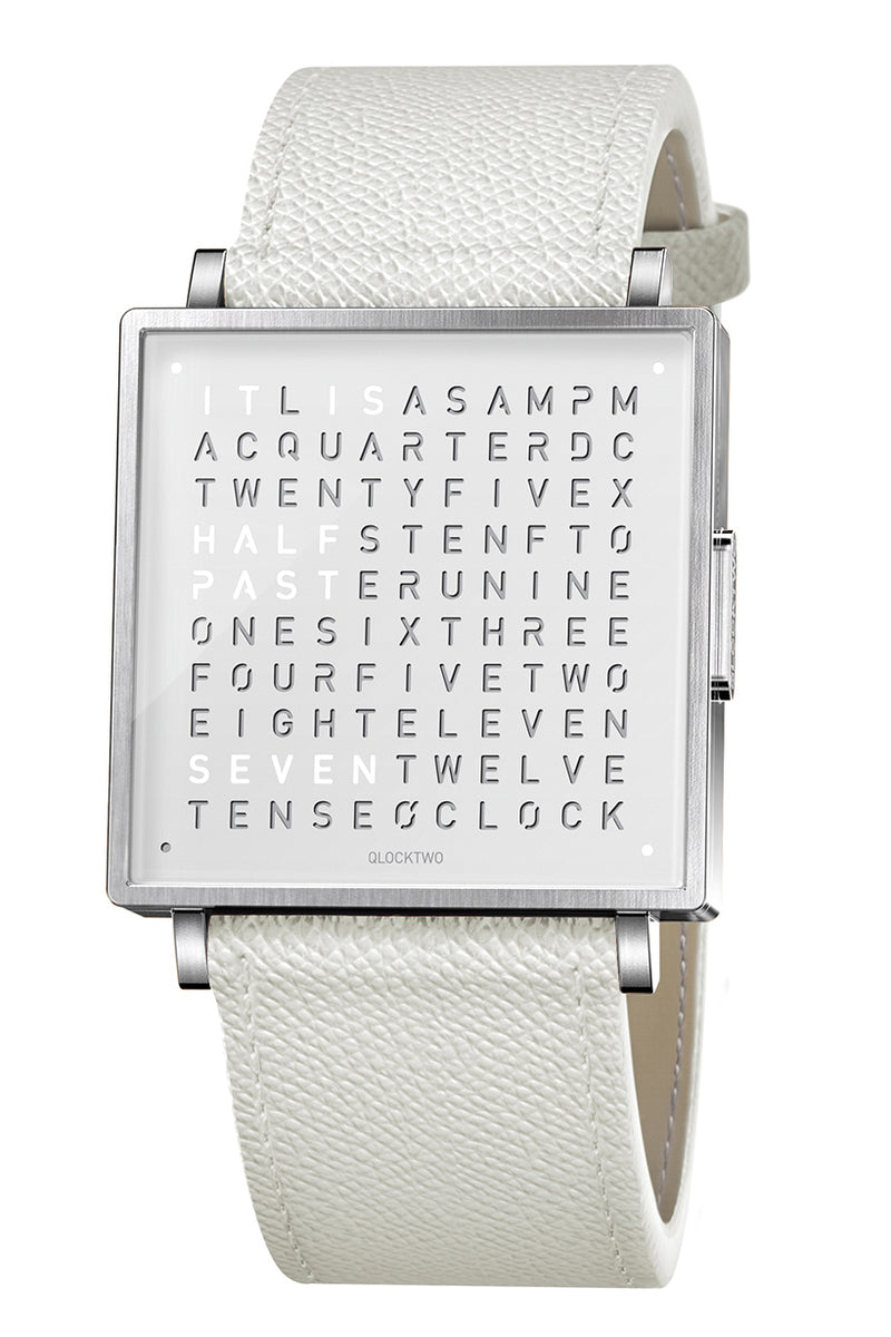 QLOCKTWO W Pure White Watch with White French-Grain Leather Strap