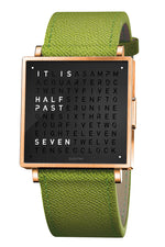 QLOCKTWO W Rose Black Watch with Green French-Grain Leather Strap