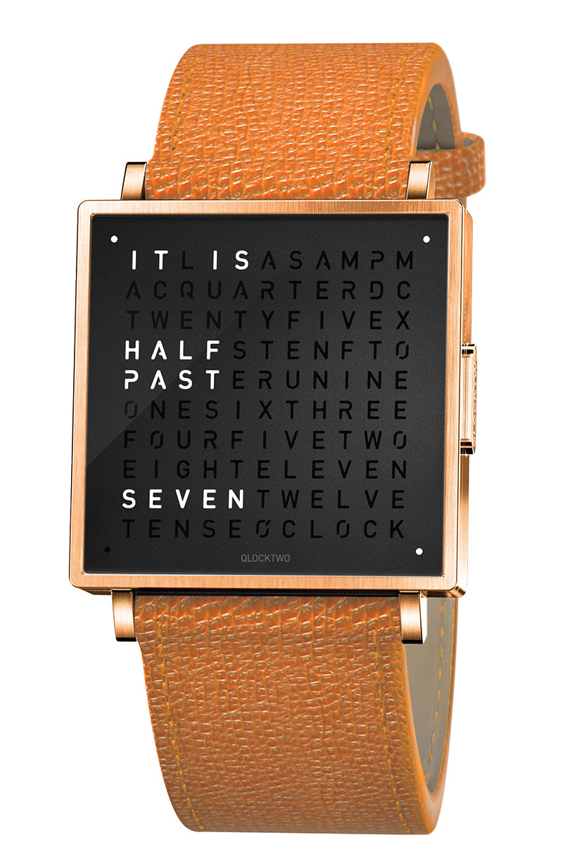 QLOCKTWO W Rose Black Watch with Orange French-Grain Leather Strap