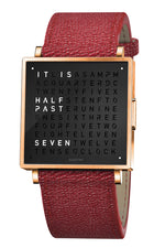 QLOCKTWO W Rose Black Watch with Red French-Grain Leather Strap