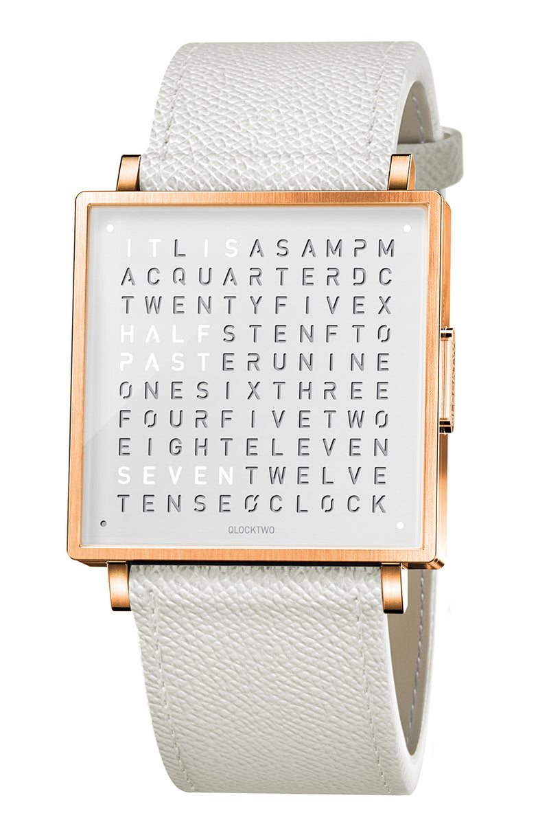 QLOCKTWO W Rose White Watch with White French-Grain Leather Strap