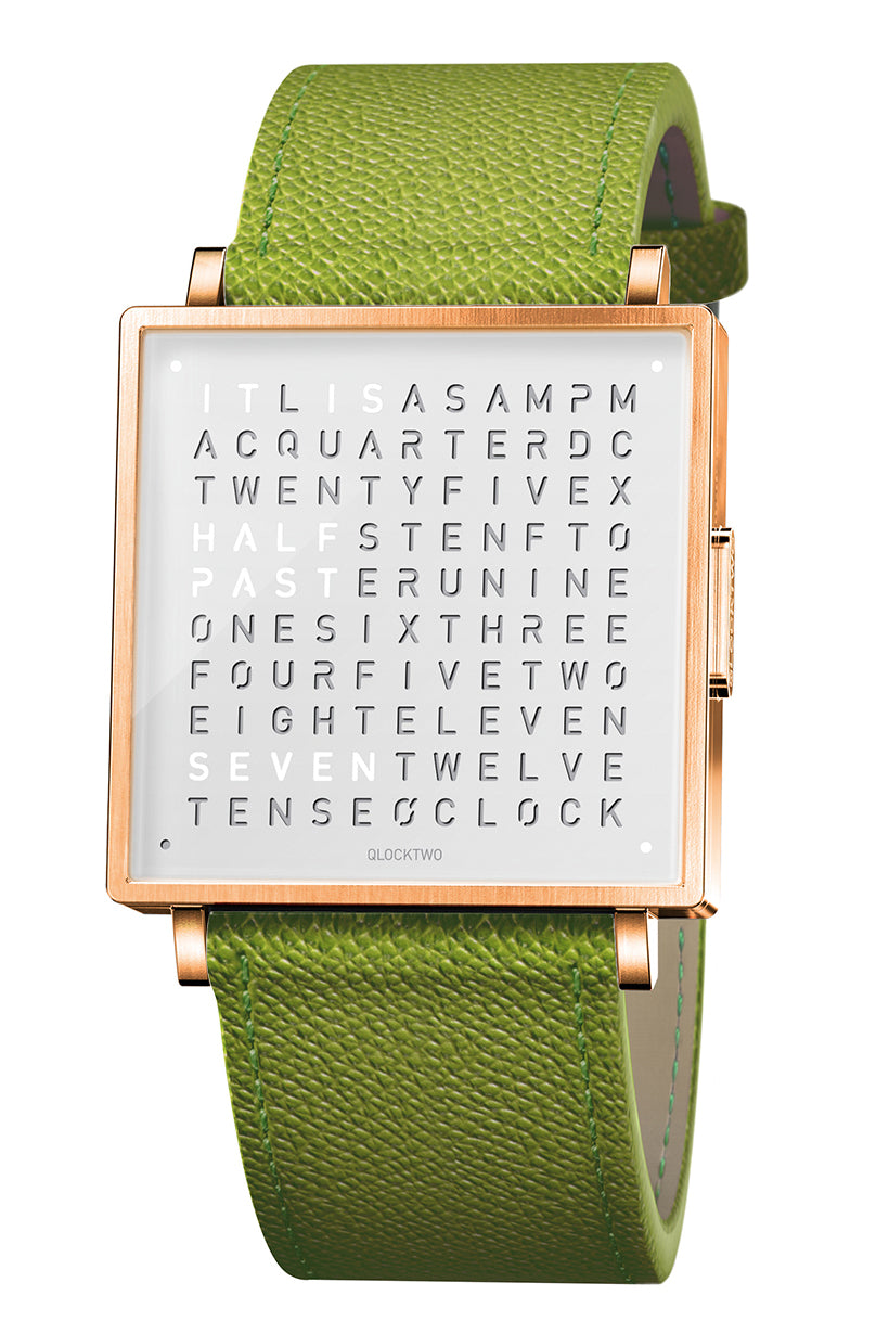QLOCKTWO W Rose White Watch with Green French-Grain Leather Strap