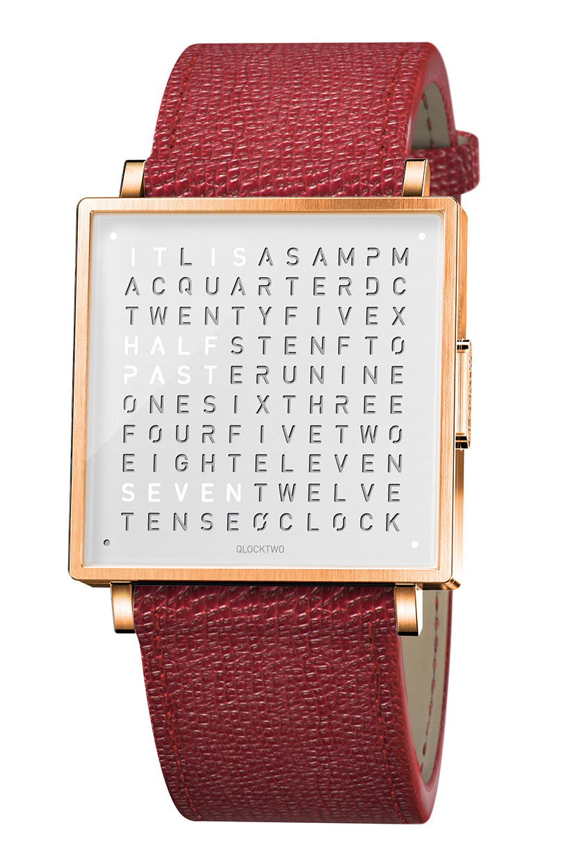 QLOCKTWO W Rose White Watch with Red French-Grain Leather Strap