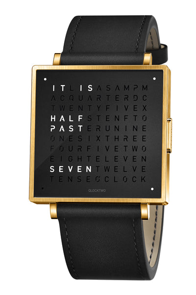 QLOCKTWO W Gold Black Watch with Black Leather Strap