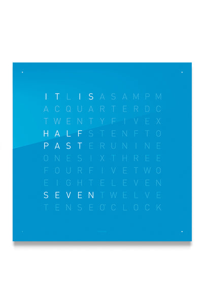 QLOCKTWO Wall Clock with BLUE CANDY Acrylic Faceplate