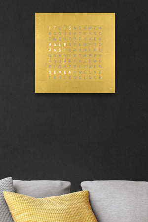 QLOCKTWO Creator's Edition Wall Clock with GOLD Stainless Steel Faceplate