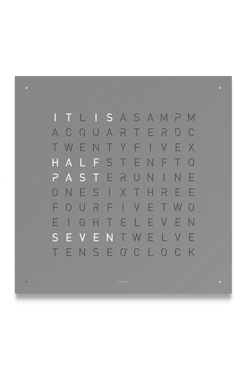 QLOCKTWO Wall Clock with GREY PEPPER Stainless Steel Faceplate