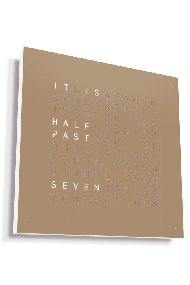 QLOCKTWO Wall Clock with HAZELNUT Stainless Steel Faceplate