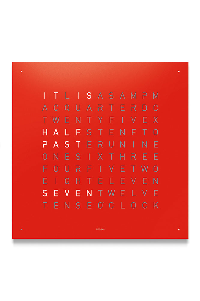 QLOCKTWO Wall Clock with RED PEPPER Stainless Steel Faceplate