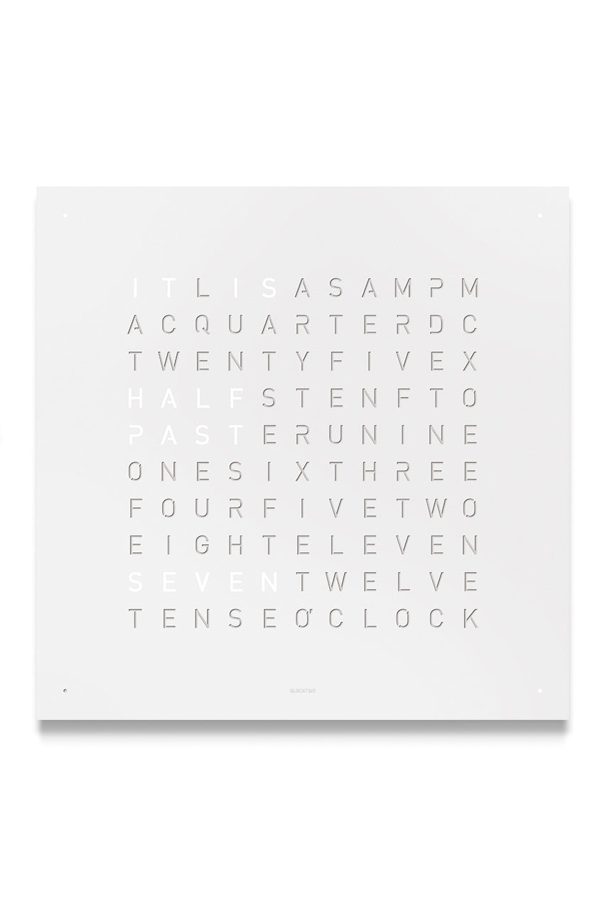 QLOCKTWO Wall Clock with WHITE PEPPER Stainless Steel Faceplate