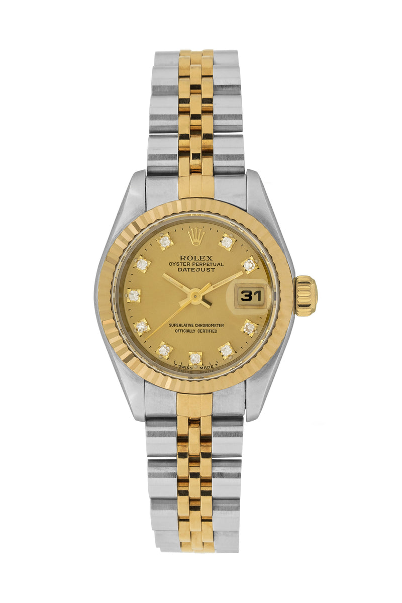 Rolex datejust ladies automatic watch 69173 diamond dot dial watchobsession for Diamond dial watch