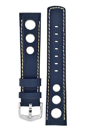 Hirsch RALLY Leather Watch Strap in BLUE