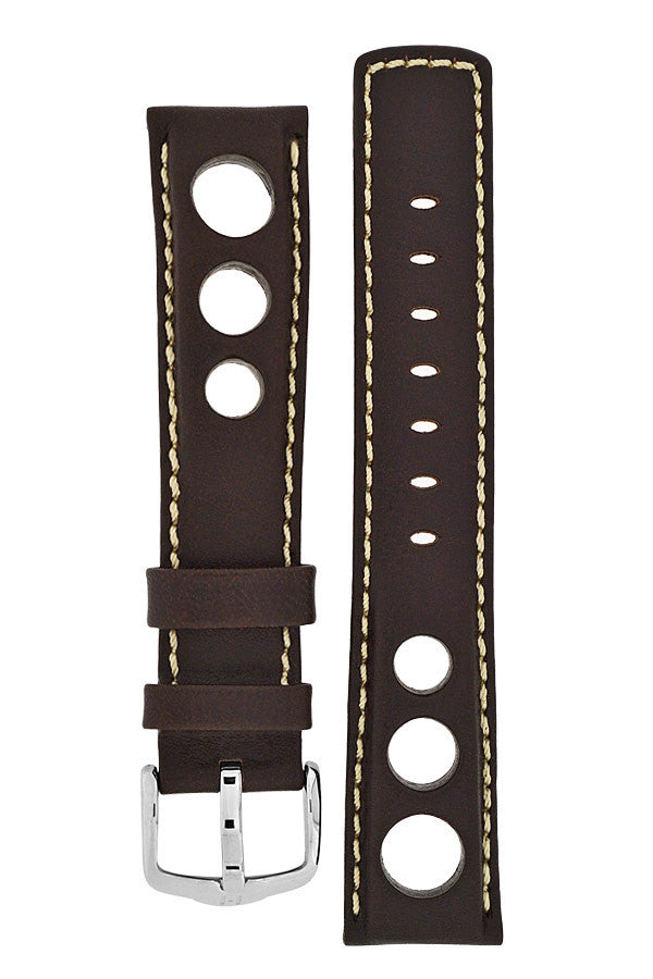 Hirsch RALLY Leather Watch Strap in BROWN