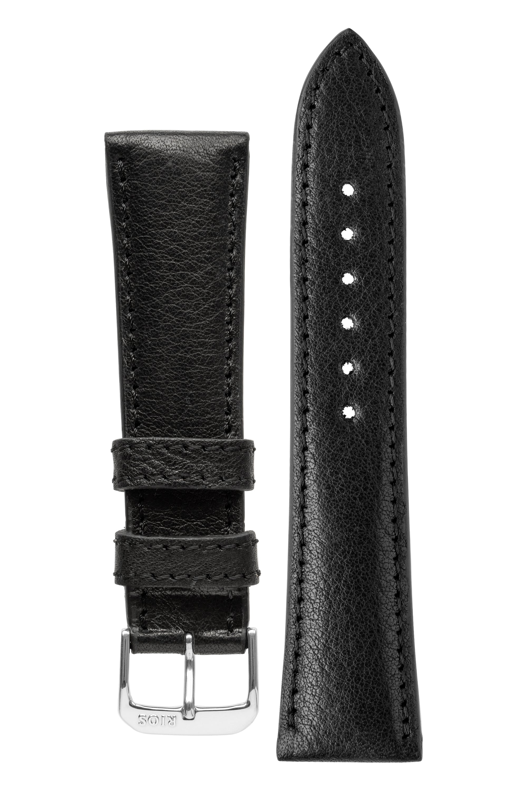 Rios1931 GARMISCH Organic Leather Watch Strap in BLACK