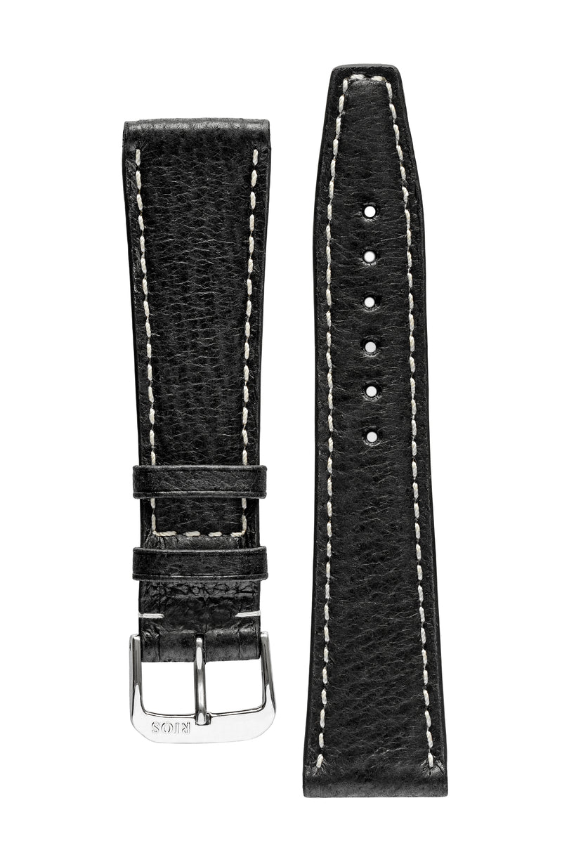 Rios1931 HAVANA Genuine Pigskin Leather Watch Strap in BLACK