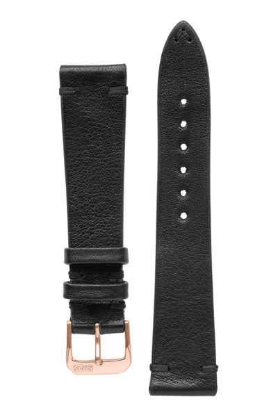 Rios1931 MITTENWALD Retro Organic Leather Watch Strap in BLACK